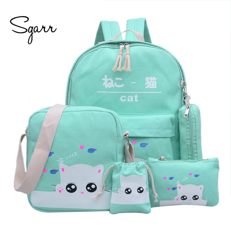 SGARR New Canvas Cat Printing Women Backpack 5 Pieces Students School Bags For Teenage Girls Casual Female Travel Bag Rucksack women canvas stripe shoulder bags casual capcity multifunction backpack students school bags