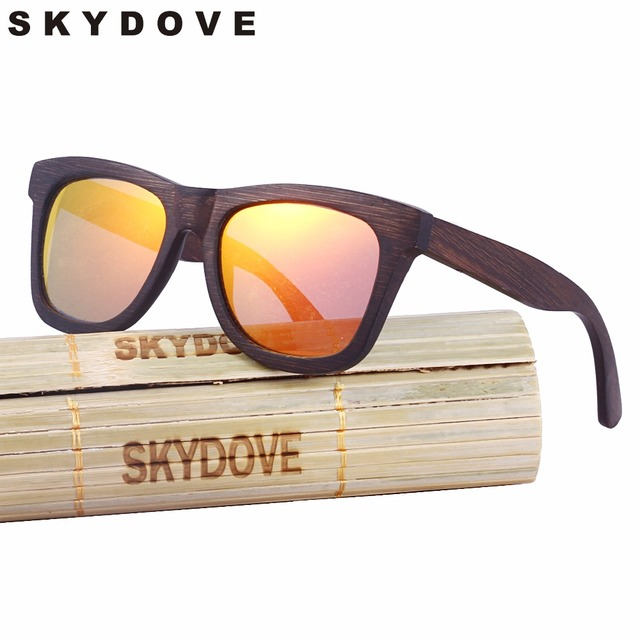 ea45b7118b7 SKYDOVE Brown Wooden Sunglasses Frames Square luxury 2018 bamboo sunglasses  women Men s Wood Sunglasses Polarized With Cases