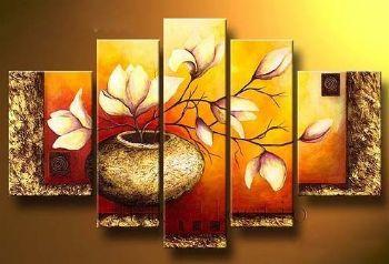 5 stücke Hand Bemalte Leinwand Malerei Goldenen Flasche Elegent Moderne Leinwand drucke Wall Decor Floral Wandbilder für Wohnzimmer