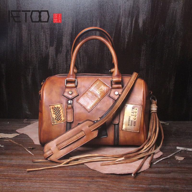 AETOO Retro bag female new handmade leather handbag leather handbag female Messenger bag women