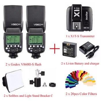 Godox V860II V860II-S TTL HSS вспышка для Sony, 2x вспышка + 1x X1T-S триггер + 2x цветной фильтр + 2x софтбокс + 2x кронштейн c
