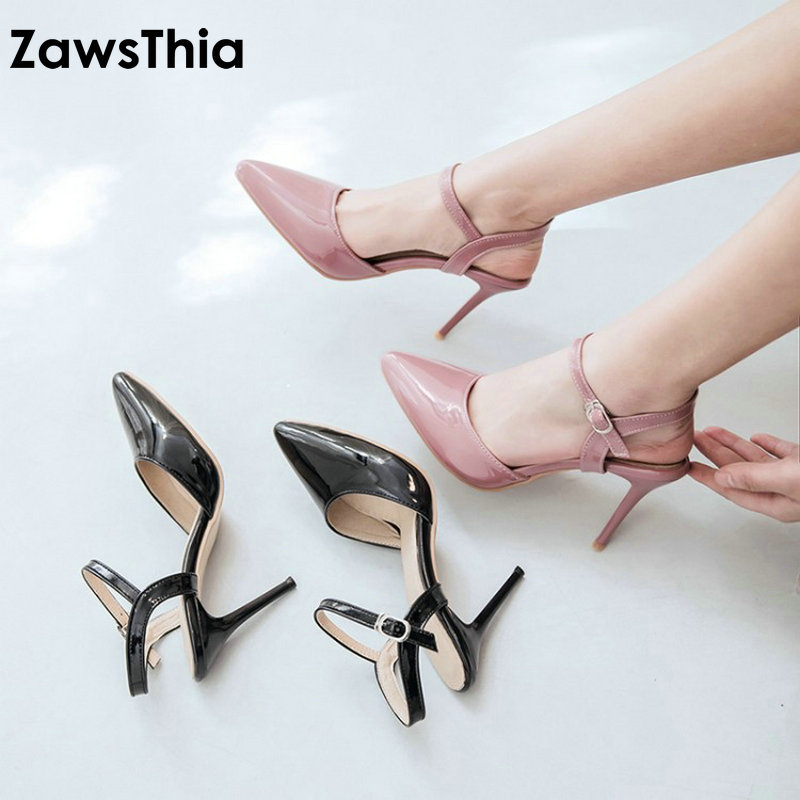 ZawsThia patent PU pointed toe pumps women shoes dress shoes summer thin high heels shoes slingback gladiator sandals woman pu closed toe color block slingback shoes