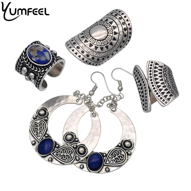 Yumfeel New Vintage Jewelry Metal with Blue Synthetic Stone Ring Earring Jewelry Sets for Woman pendientes mujer moda Gifts