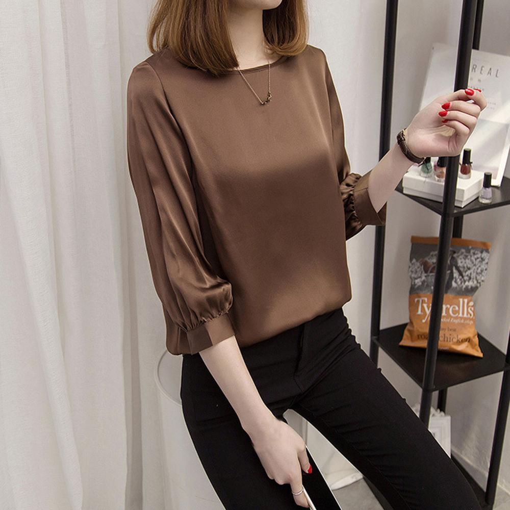 Women Shirts Blouse 2019 Fashion Plus Size Solid Color Imitated Silk Three Quarter Sleeve Spring Summer Tops
