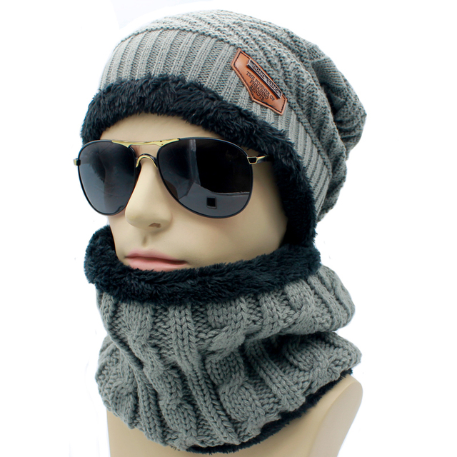 902ee044723 2pc set Warm Men 016 Winter Hats Collars Beanie Hat Knitting Wool Hat  Knitted Caps