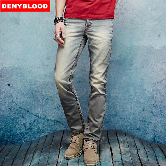 95e74c1596f Thick Stitch Mens Distressed Jeans Ripped 3D Crinkle Whiskers Male Fashion  Denim Cargo Pants Vintage Wash