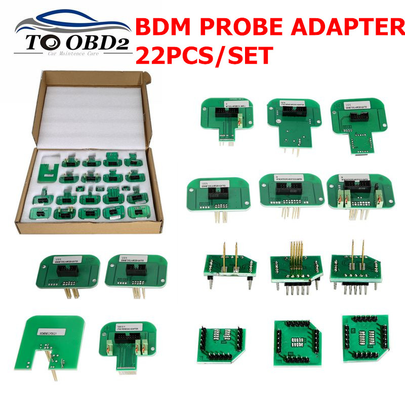 Newest BDM Adapters 22pcs set KTAG KESS KTM Dimsport BDM Probe Adapters LED BDM Frame Adapter