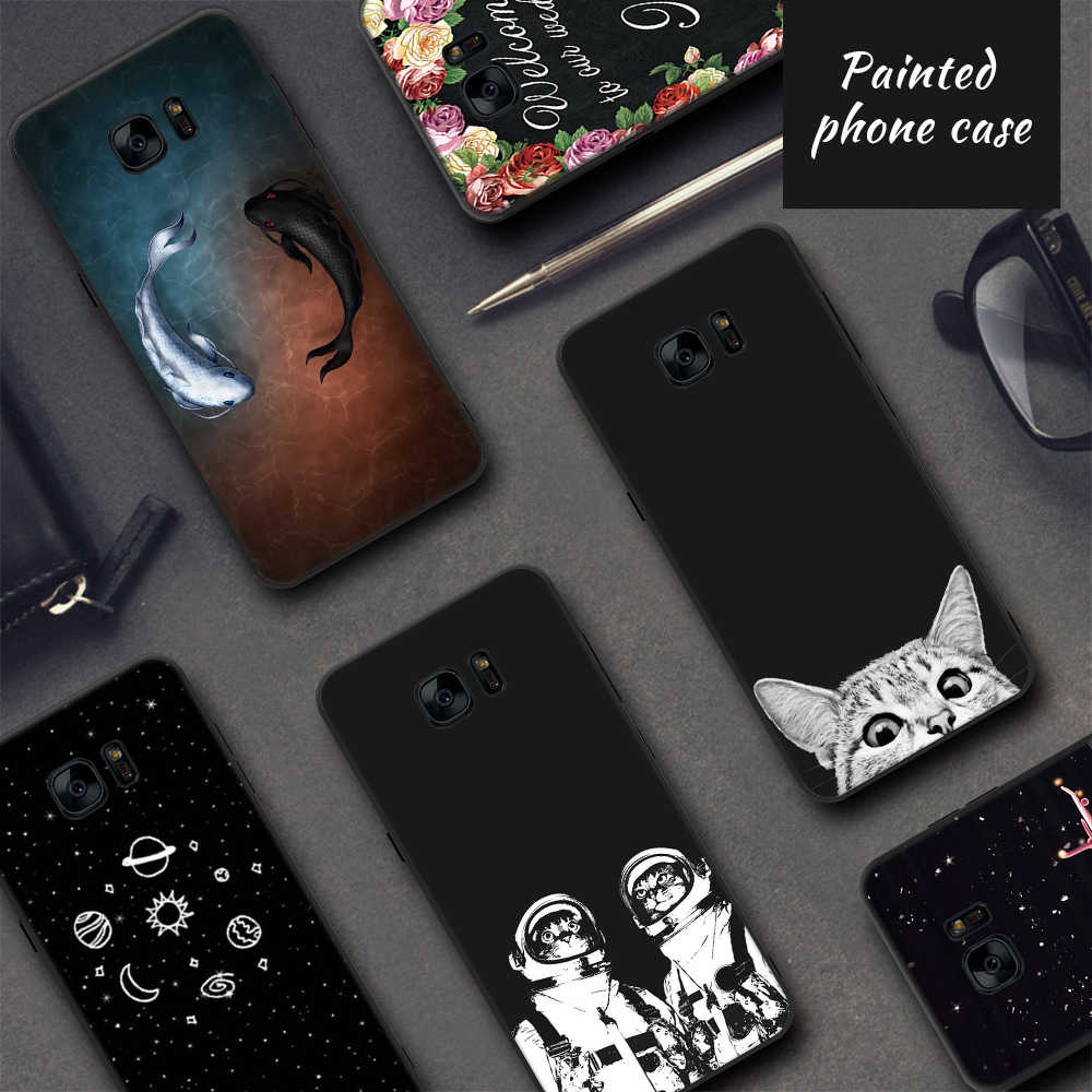 Soft TPU Case For Samsung Galaxy S9 S8 Plus Note 8 9 S7 S6 Edge A8 A6 Plus 2018 A9 Star Lite Black Green Plant Printing Case