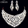 Luxury Austrian Crystal Rhodium Plated Wedding Statement Jewelry Fashion Imitation Diamond Bridal Pearl Jewelry Sets For Women