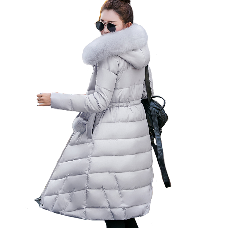 Fur collar long hooded casaco feminina inverno warm thicken cotton padded high quality women winter jacket womens coats parkas 2017 winter down jackets women winter coats fur hooded female long cotton padded parkas outwear jaqueta feminina inverno y1489