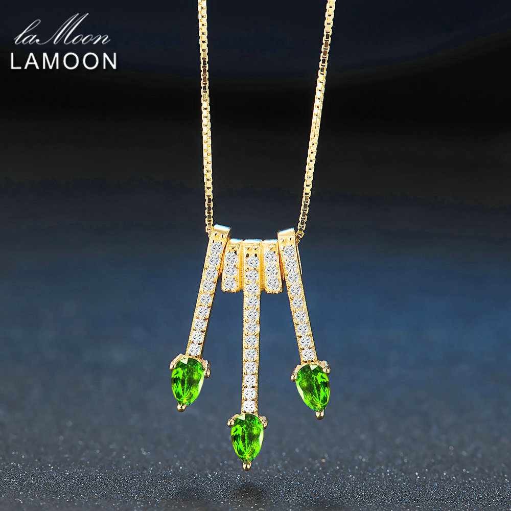 Lamoon 2017 New Pear-Shaped Real Natural Diopside Gemstone Chain Arrows Pendant Necklace 925-Sterling-Silver Jewellry LMNI061Lamoon 2017 New Pear-Shaped Real Natural Diopside Gemstone Chain Arrows Pendant Necklace 925-Sterling-Silver Jewellry LMNI061
