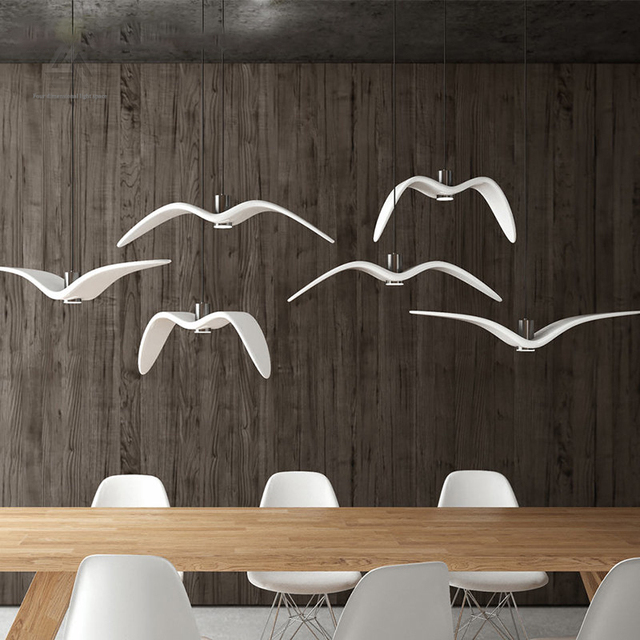 seagull pendant lighting. Nordic Creative Seagull Pendant Lights Black White LED Lamp Bar Dinning Room Suspension Luminaire Kitchen Lighting