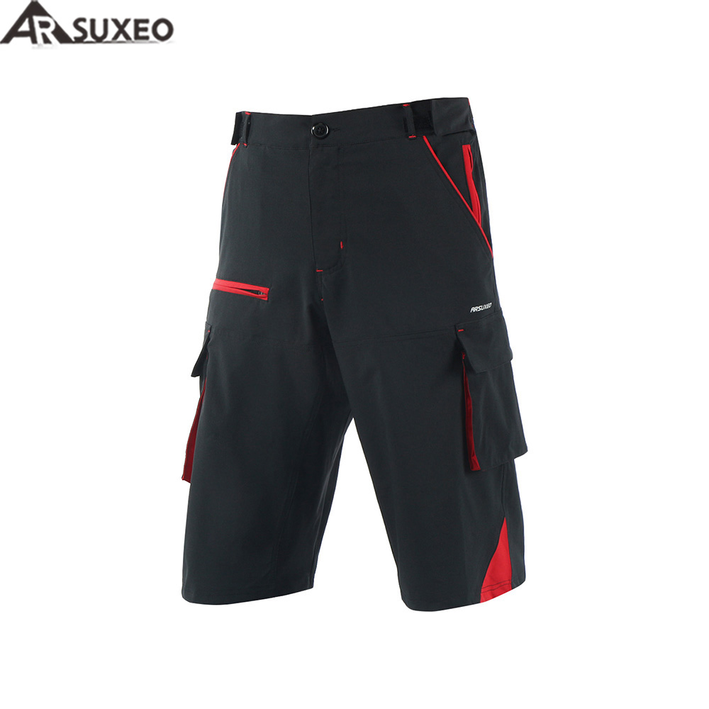 ARSUXEO 2017 Mens Outdoor Sports Loose Fit Cycling Shorts Downhill MTB Shorts Mountain Bike Shorts Zipper Pockets 1708