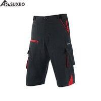 ARSUXEO 2017 Mens Outdoor Sports Loose Fit Cycling Shorts Downhill MTB Shorts Mountain Bike Shorts Zipper Pockets 1708