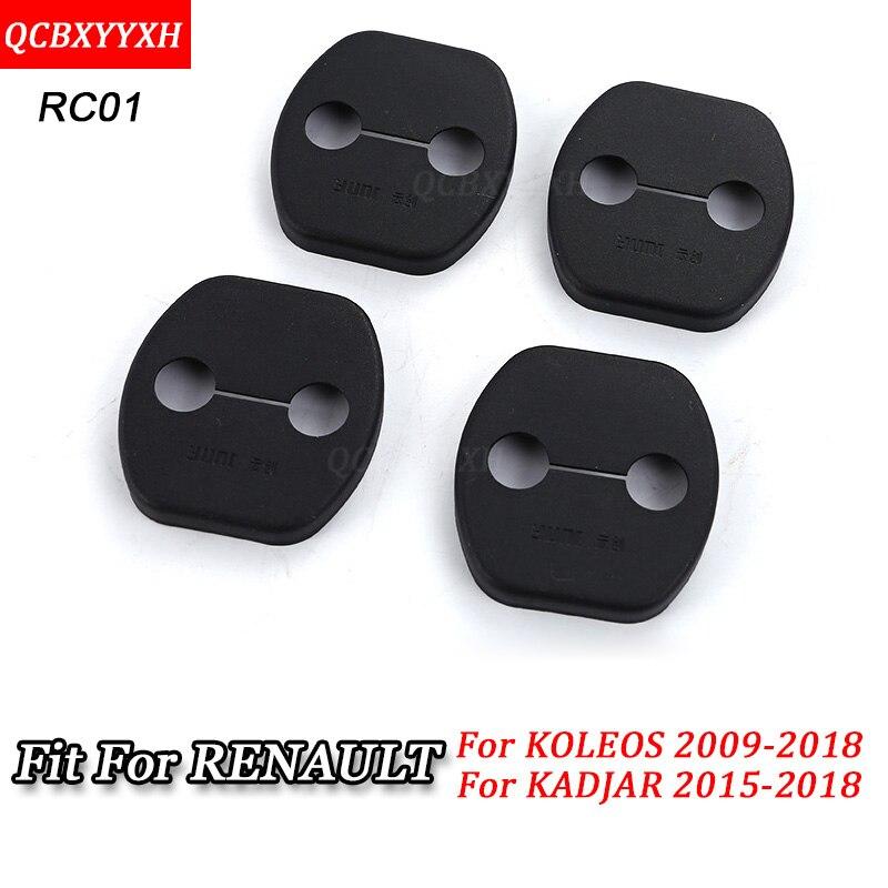 QCBXYYXH 4pcs/set Car Door Lock Protective Cover decoration Accessories For Renault Koleos Kadjar Captur Fluence Magane Latitude
