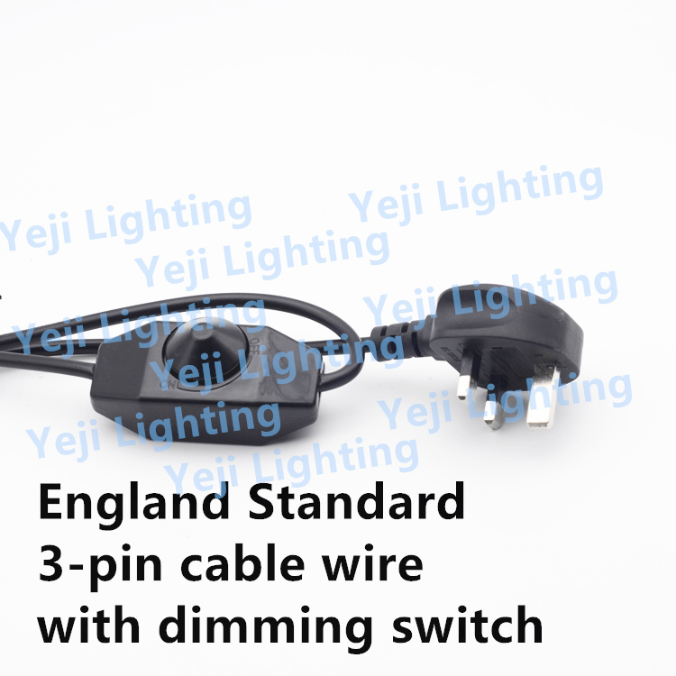British Standard UK cable wire with dimmer Switch 3 pin plug cable