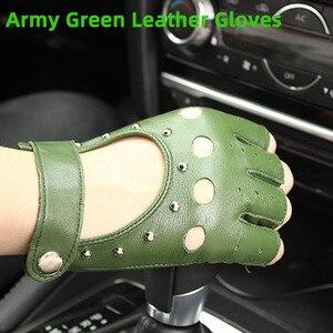 Image 5 - Mezze dita guanti in pelle primavera e lestate delle donne sottili guanti di pelle di capra new hollow brevi sport di guida del driver di