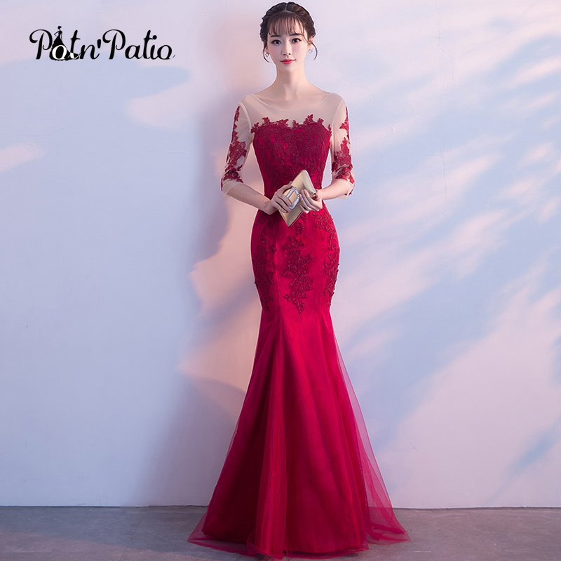 Mermaid Style Evening Dresses With Sleeves Burgundy Elegant Long ...