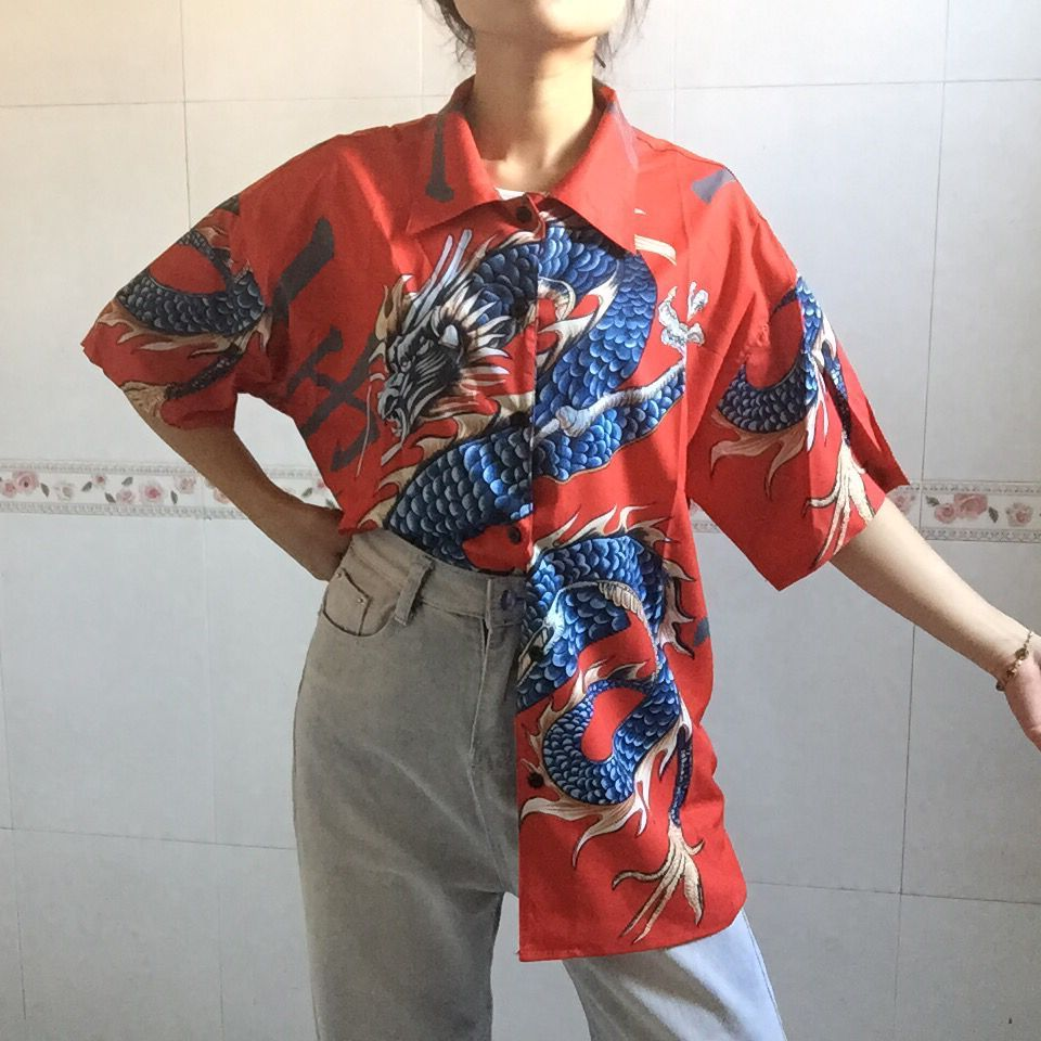 Women's Clothing Collection Here Summer Korea Harajuku Bf Women Blouse Dragon Printed Short Sleeve Turn Down Collar Top Shirt Casual Streetwear Shirts