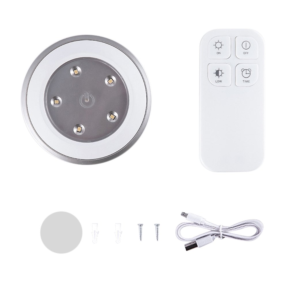 Unique Wireless Remote Control Small Round Shape Light Rechargeable LED Night Light Lamp for Home Cabinets Closets Kitchen