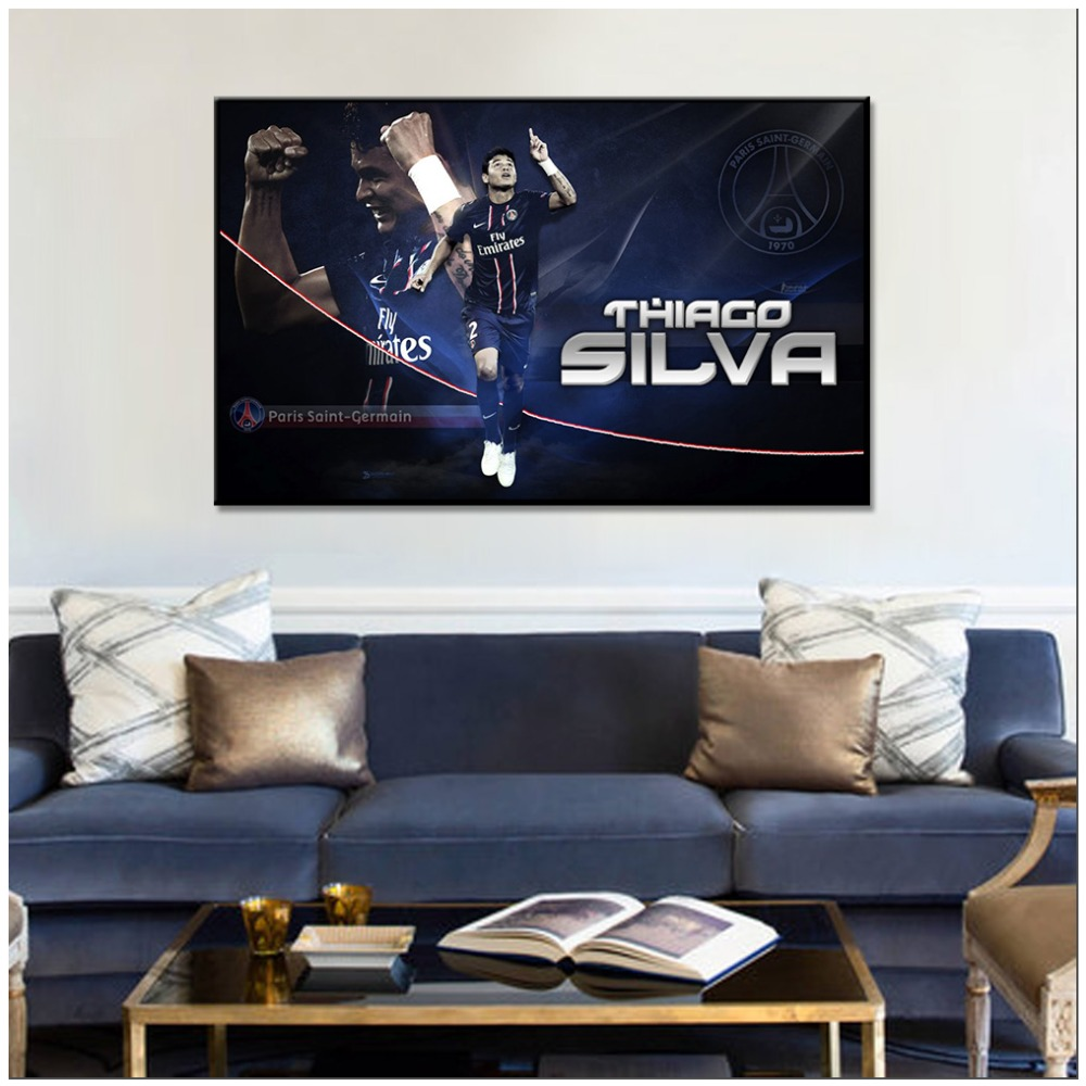 2018 PSG Canvas Painting Decoration Thiago Silva Posters And Prints Wall Pictures Football Club Home decor For Living Room in Painting Calligraphy from Home Garden