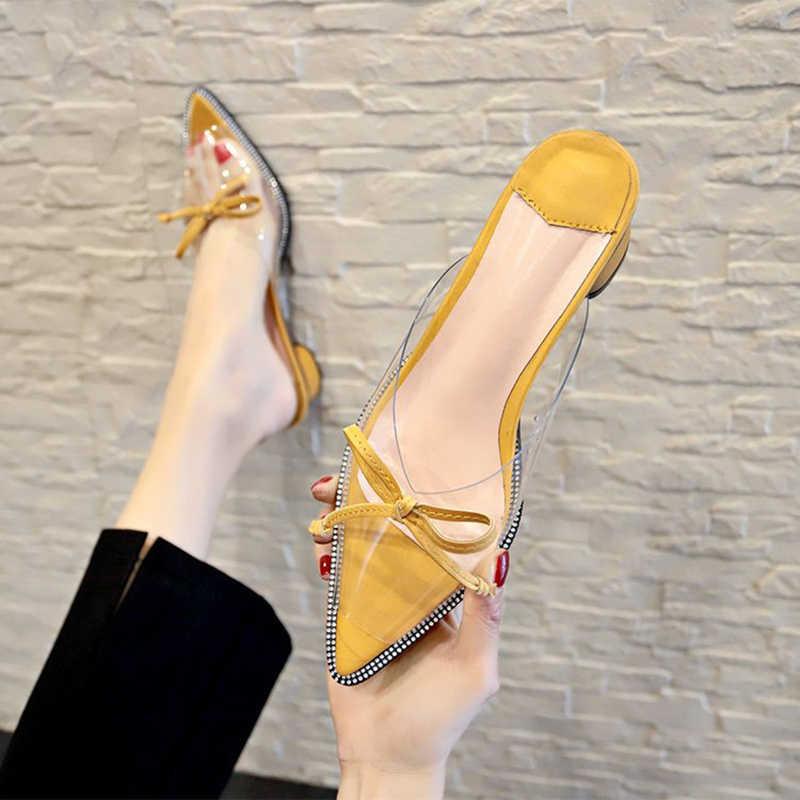 ผู้หญิงฤดูร้อน pointed เปิดนิ้วเท้ารองเท้าแตะโปร่งใสรองเท้าแตะ slip - on บางรองเท้าส้นสูงรองเท้าส้นหญิง