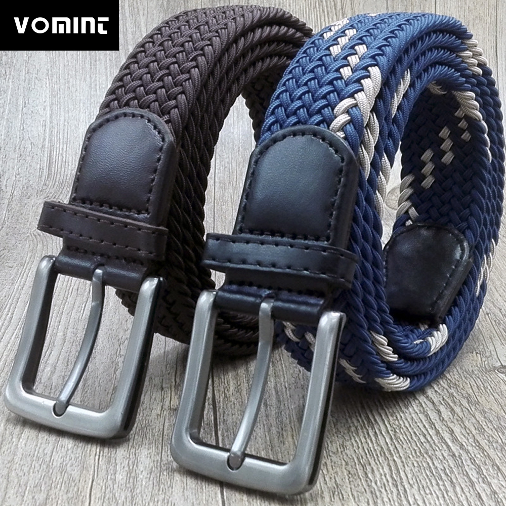 Vomint 2019 New Arrivals Mens Belts Casual Woven Belt Buckle Elastic All match Youth Knitted Fabric 130cm 150cm for Male woven belt belt casualbelt f - AliExpress