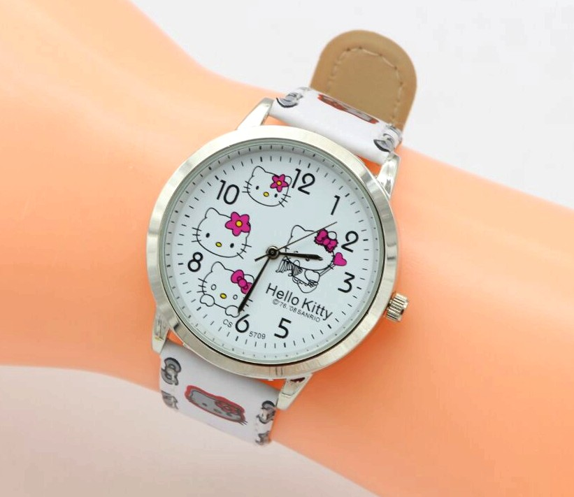 Free shipping fashion cartoon quartz watch Wristatch casual wear hello kitty watch women girls kids high quality new 2015 led watch women kids watch fashion casual cartoon watches colorful rainbow girls