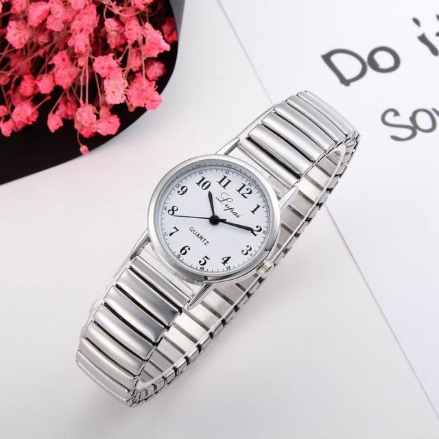 women's watches 2018 New Fashion Silver Stainless Steel Couples Watch Quartz-wat