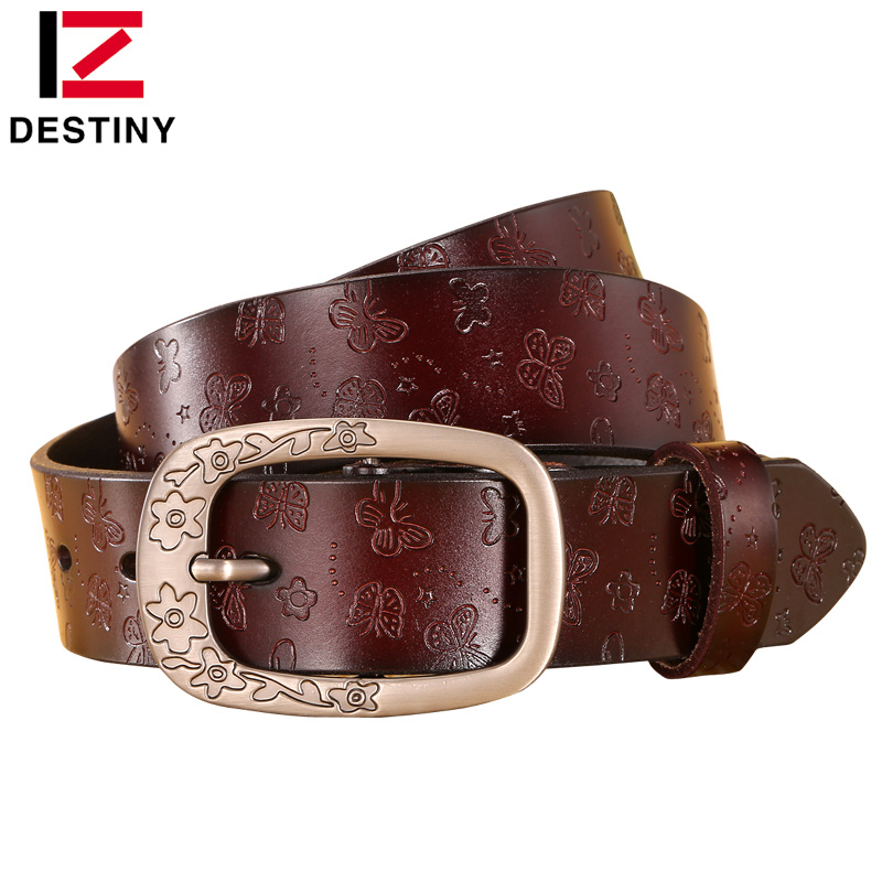 DESTINY Designer Belts Women High Quality Luxury Brand Genuine Leather Girls Ladies 'Belt For Jeans Casual Vintage Flower White