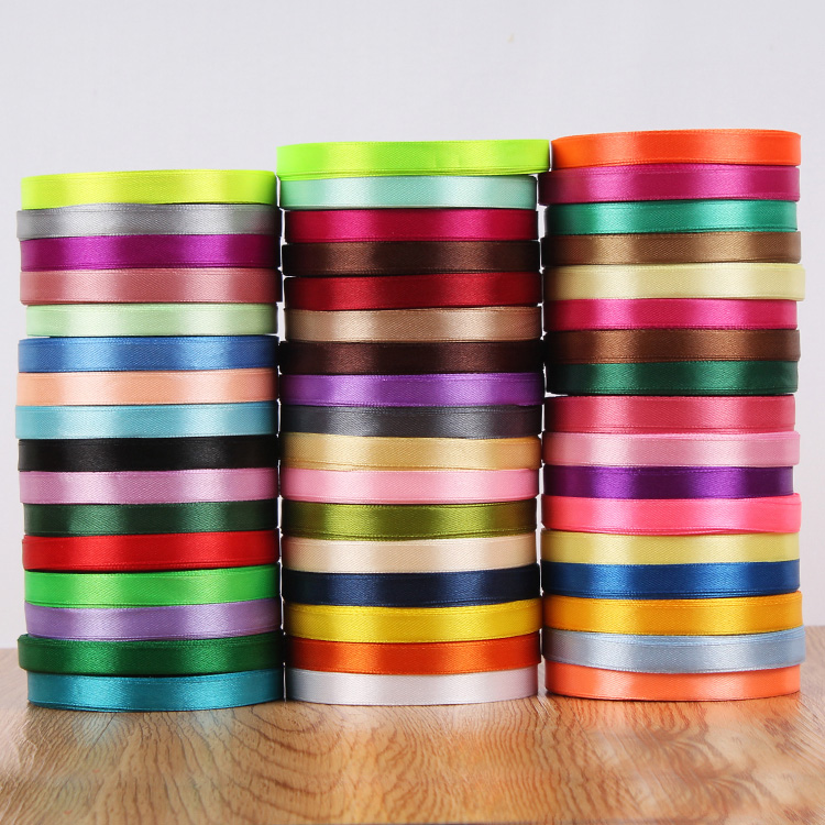 Haosihui 25 Yards/Lot 10MM <font><b>50</b></font> Colors Wedding Satin Silk Ribbon Single-sided Ribbons Gift Packaging Lace DIY Accessories image