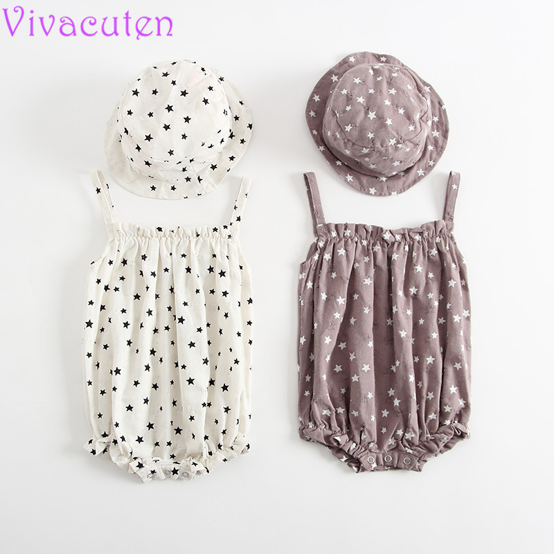 Baby Romper 2018 Korean Female Baby Sling Dress Summer Cotton Backing Romper New Siamese Triangle romper