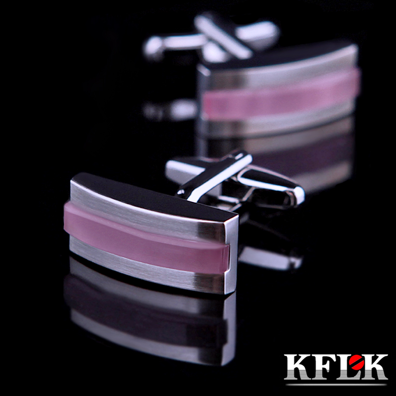 KFLK jewelry 2018 shirt cufflinks for mens gift Brand cuff buttons Pink cheap cuff links High Quality abotoaduras Jewelry