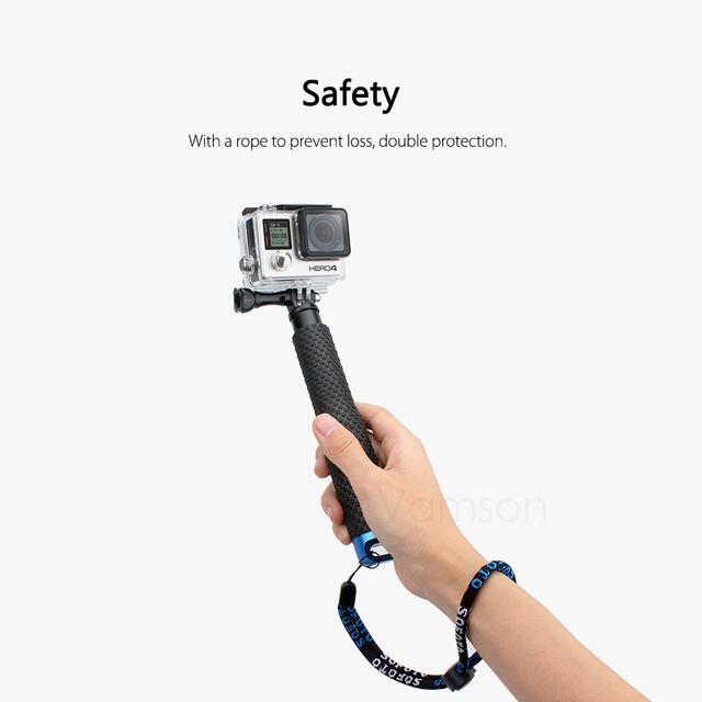 Vamson for GoPro 6 5 Aluminum Extendable Pole Selfie Stick Monopod Tripod Mount for GoPro Hero 6 5 4 3+ for Xiaomi for Yi VP403