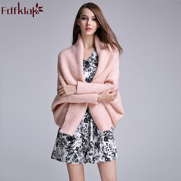 Fdfklak Autumn Knitted Cardigan Women Casual Batwing Long Sleeve Poncho Elegant Solid Pink/White Sweater Ladies Coat Jacket Q237