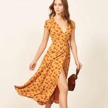 2019 Vintage Printing Summer Dress Women Yellow Casual Personality V-neck Dresses Tether Hem Asymmetrical Long Dress Women deep v neck asymmetrical hem dress