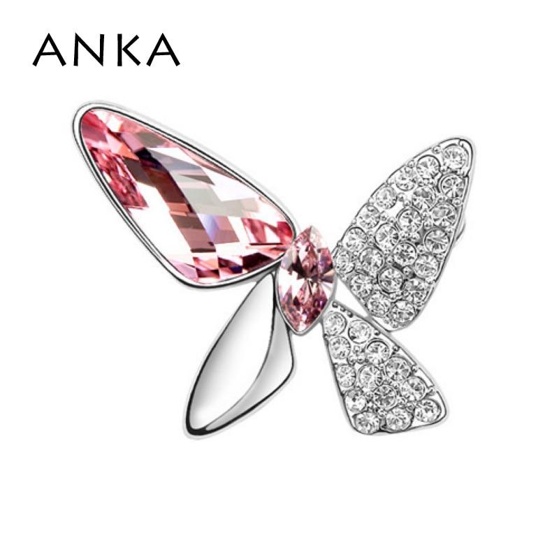 ANKA Мода бабочка брошь булавка броши на одежду Новая мода Кристалл Мода брошь основной камень Кристаллы из Австрия#77455 - Окраска металла: 77454