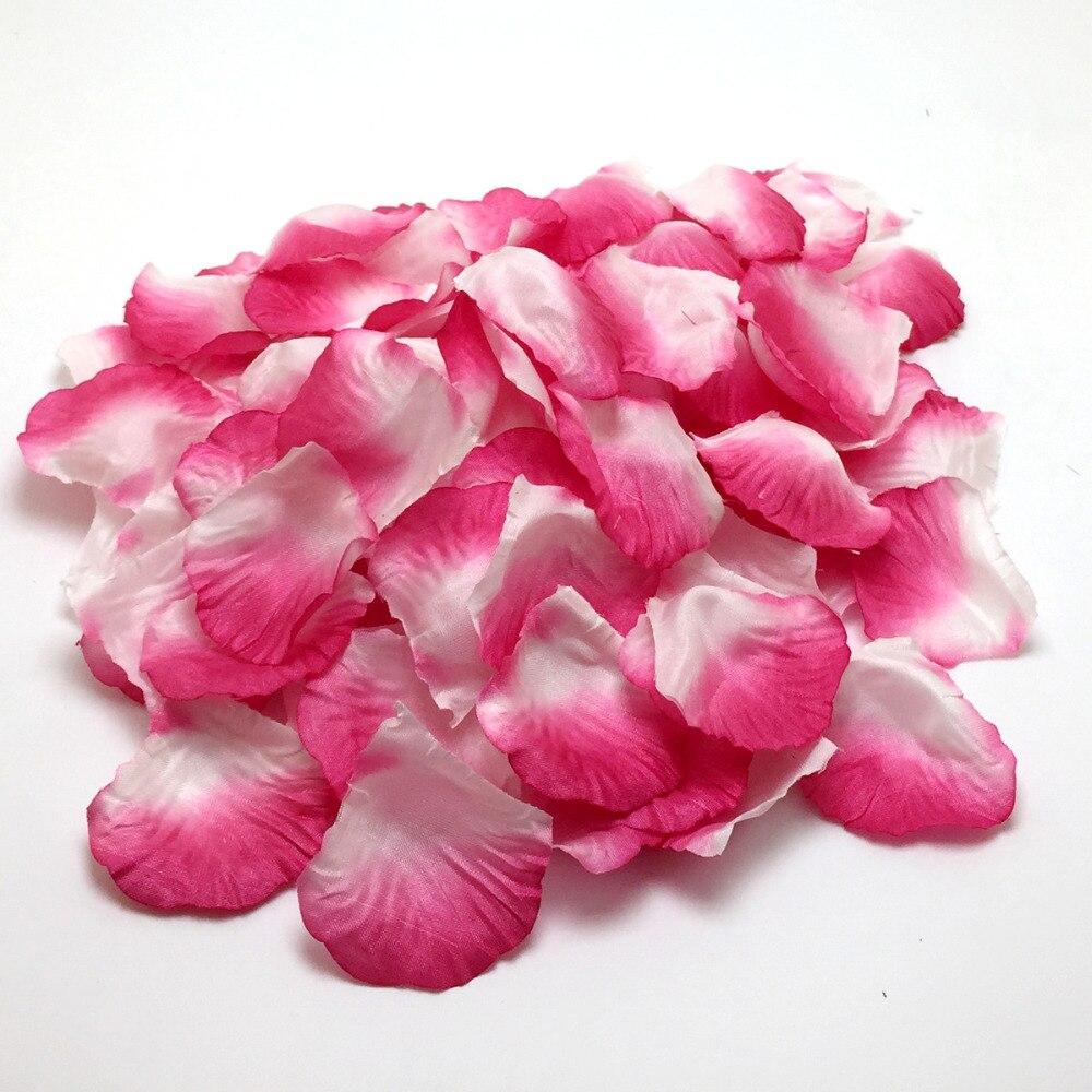 2000pcs/lot Hot Pink White Color Silk Rose Petals Flower Wedding ...