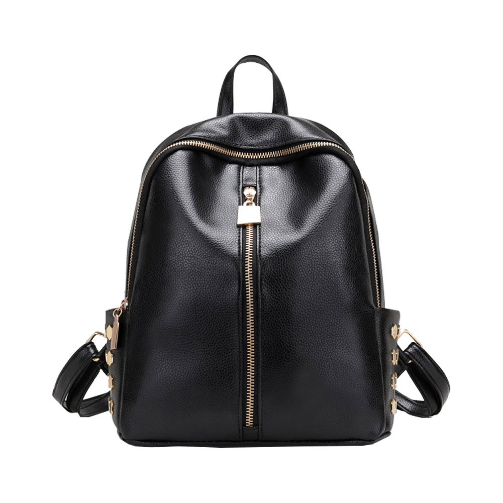 European Style Simple Backpack Women PU Leather Rivet Travel Backpack Black School Bags for Teenage Women Leather Small Bag Back