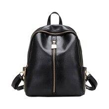 Европейский стиль простой рюкзак женщины искусственная кожа заклепки путешествия рюкзак черный школьные сумки для подростков женщины кожаная сумка back