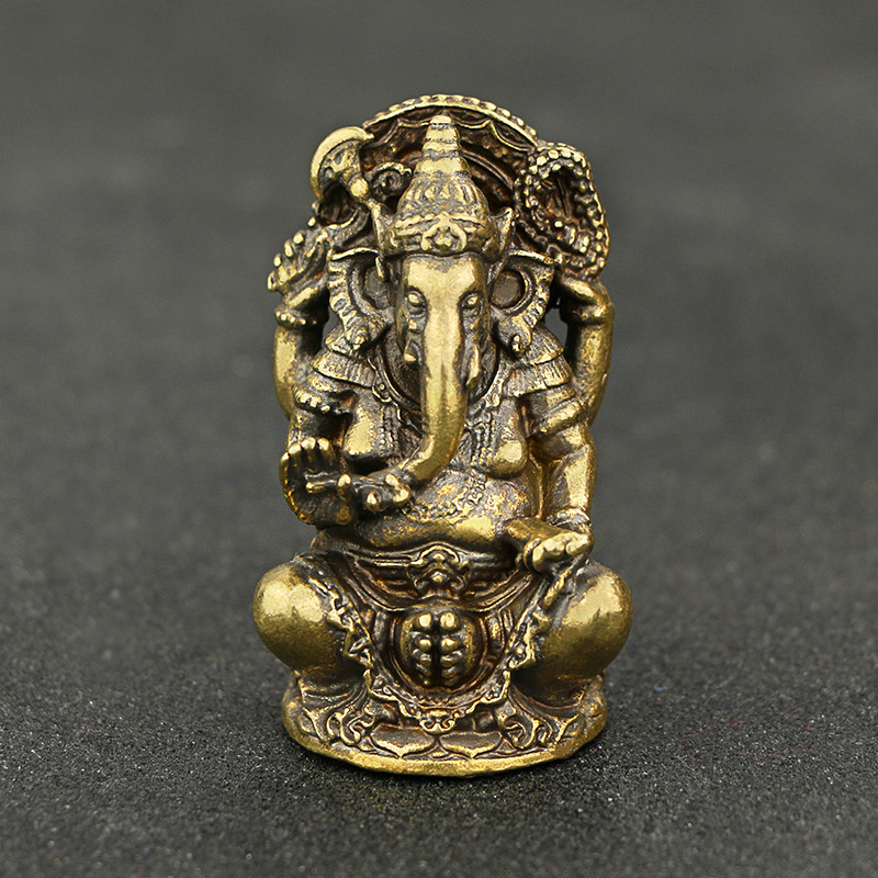 Mini Vintage Brass Ganesha Statue Pocket India Thailand Elephant God Figure Sculpture Home Office Desk Decorative Ornament Gift