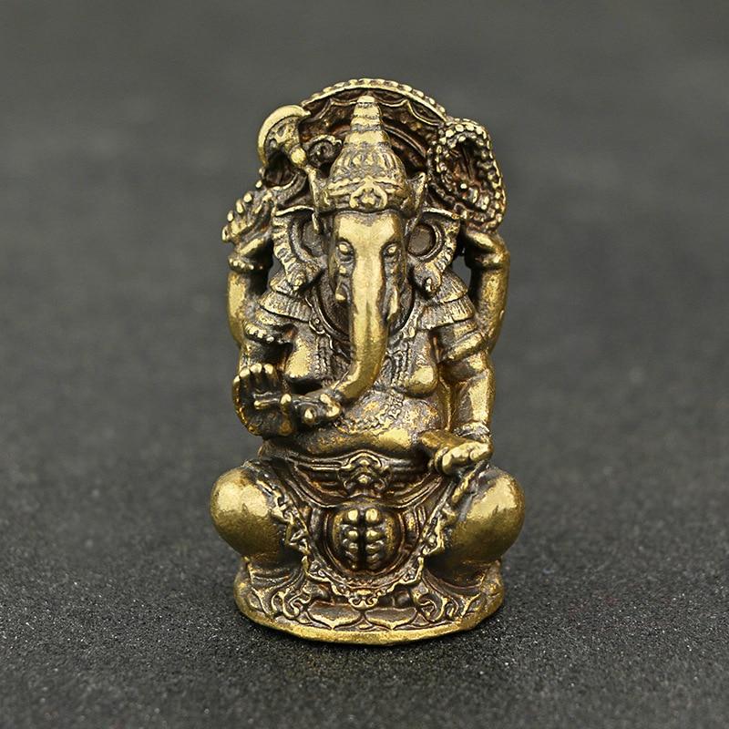 Mini Vintage Brass Ganesha Statue Pocket India Thailand Elephant God Figure Sculpture Home Office Desk Decorative Ornament Gift