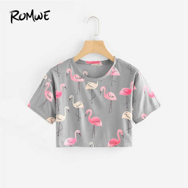 0dc6a653f9032 ROMWE Flamingo Print Crop Tee Women Round Neck Summer Tops Short Sleeve  Grey Casual Aniaml Print
