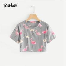 407ba0f6f40b1e ROMWE Flamingo Print Crop Tee Women Round Neck Summer Tops Short Sleeve  Grey Casual Aniaml Print