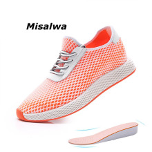 Misalwa Men Sneakers Comfort Unisex Invisible Height Increasing 5/7 CM New Shoes Casual 2019 Flyknit Mesh Elevator Shoe Flat