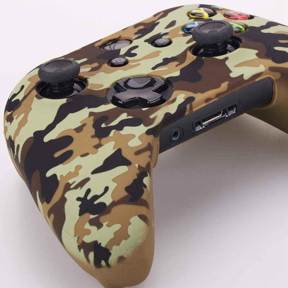 Камуфляжный, силиконовый обложка, кожаный чехол для Microsoft Xbox One X & Xbox One S контроллер x 1 с PRO thum
