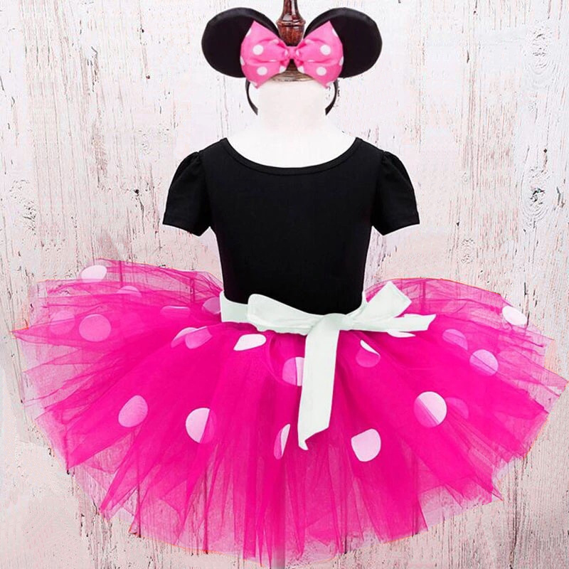 Dot Kids Dresses for Girls Halloween Cosplay Minnie Mouse Dress for Girls Clothing Vestidos Girl Tutu Dress with Headband Wear baby kids dress minnie mouse party fancy costume cosplay girls ballet tutu dress ear headband girl polka dot clothing girl dress
