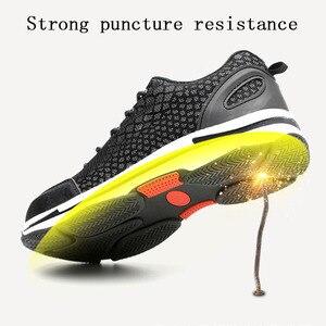 Image 3 - Mens de mode Lumineux en acier orteil couvre de travail chaussures de sécurité respirant Deodoran anti crevaison outillage bas bottes protéger chaussures