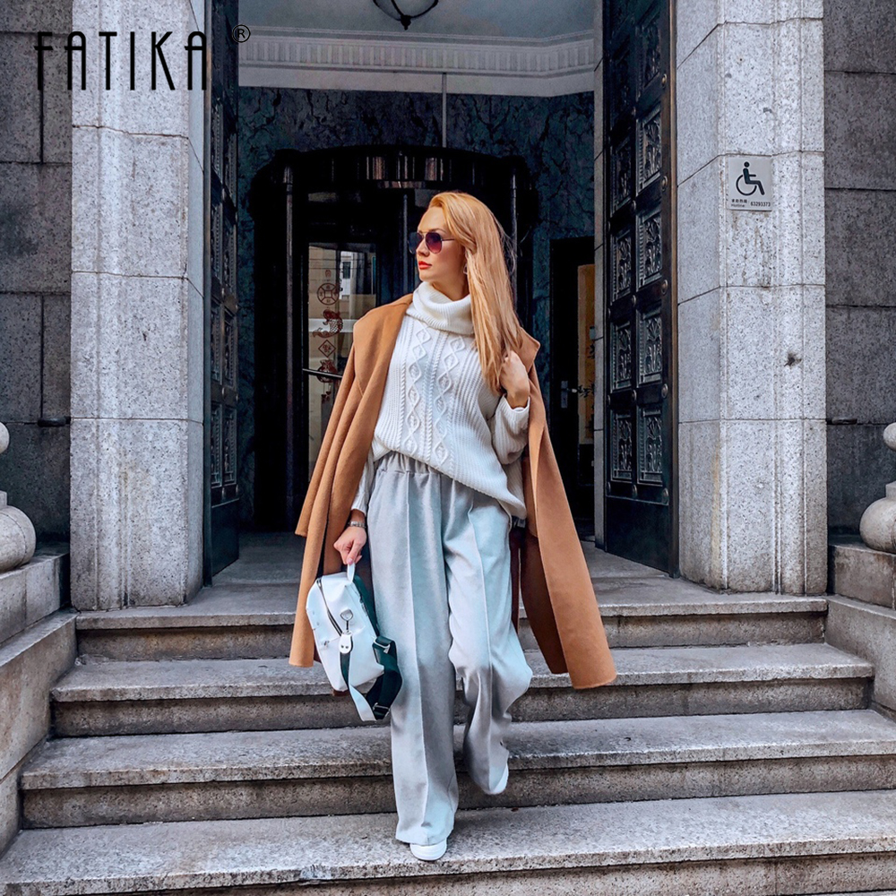 FATIKA Autumn Winter Women Loose Casual Long   Pants   New 2019 Elastic Waist Fashion Thick   Wide     Leg     Pants   Stylish Trousers