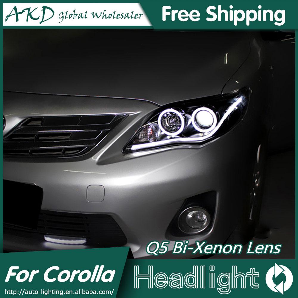 Akd car styling for toyota corolla headlights 2011 2013 angel eye led headlight drl bi